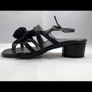 Black Taryn Rose Sandals with Flower